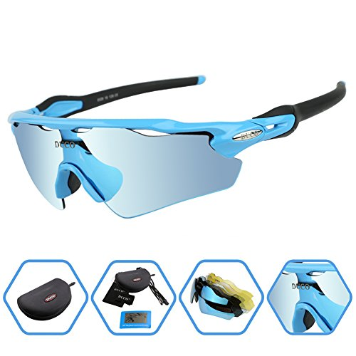 DUCO POLARIZED Sports Sunglasses UV400 Protection Cycling Glasses With 5 Interchangeable Lenses for Cycling, Baseball ,Fishing, Ski Running ,Golf (Sea Ray Ski)