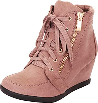 Cambridge Select Women's Lace-Up Fashion Sneaker Wedge Brown Size: 6