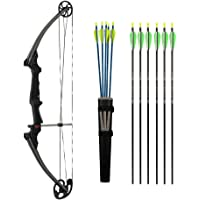 Genesis Bows Original Bow Upgraded Kit with Arm Guard, Quiver, and 11 Arrows (Right Hand, Black) | for Beginner and Intermediate Archers of All Ages | Adjustable Draw Weight