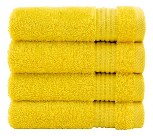 Cotton Paradise 100% Turkish Cotton Washcloth Set Bathroom Kitchen Fingertip Towel (4 Piece Washcloth Set, Lemon Yellow)