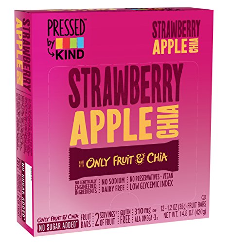 Pressed by KIND Bars, Strawberry Apple Chia, Gluten Free, No Sugar Added, 1.2oz, 12 Count