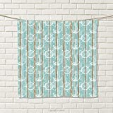smallbeefly Nautical Hand Towel Marine Elements Drawn on Old Wood Surface Helm Anchor Ornamental Print Quick-Dry Towels Turquoise Cocoa White Size: W 20'' x L 33''