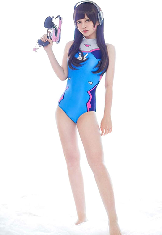 Olanstar Womens DVa Cosplay Costume Schoolgirl One-Piece Swimsuit Slim High Waist Swimwear Bodysuit