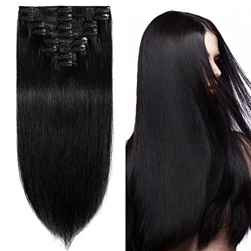 Price comparison product image 24 inch 120g Clip in Remy Human Hair Extensions Full Head 8 Pieces Set Long length Straight Very Soft Style Real Silky for Beauty #1 Jet Black