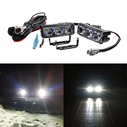 2pcs Waterproof LED Daytime Running Lights 3LED Car Day Light Aluminum DRL Automobiles 12V Auto Fog Lamp for Universal Car Light Red