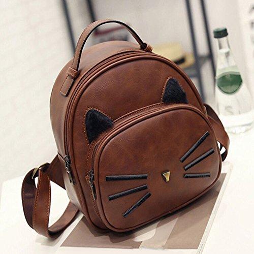 Women's Handbag Travel Faux Tan Bag Backpack Pattern FinancePlan Leather Cat Cartoon School gfw4ngqd