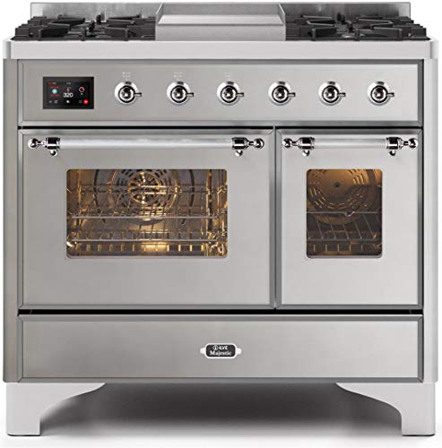 Ilve UMD10FDNS3SSC Majestic II Series 40 Inch Dual Fuel Convection Freestanding Range, 5 Sealed Brass Burners, 3.88 cu.ft. Total Oven Capacity in Stainless Steel, Chrome Trim (Natural Gas)