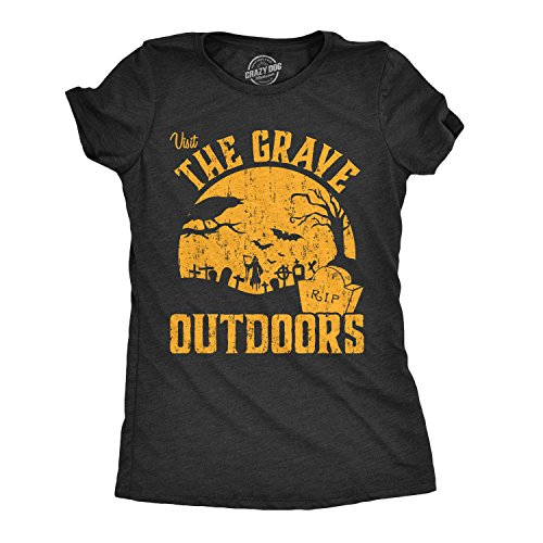 Womens Visit The Grave Outdoors Tshirt Funny Halloween Cemetary Tee for Ladies (Black) -M]()