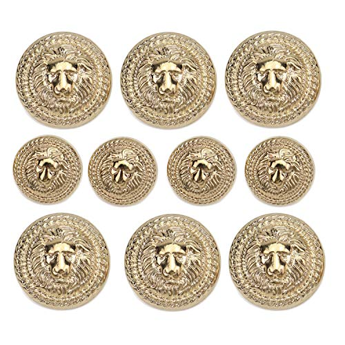 Monrocco 60 Pieces Gold Vintage Antique Metal Blazer Button Lion Head Buttons ()