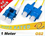 FiberCablesDirect 10Pk 1M OS2 LC SC Single Mode Fiber Patch Cables - 10 Pack | Duplex 9/125 LC to SC Singlemode Jumper Cord 1 Meter (3.28ft) | Pack Options: 2, 4, 6, 10, 12, 24 | smf patchcord lc-sc