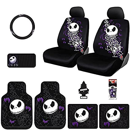 Yupbizauto New 12 Pieces Nightmare Before Christmas Jack Skellington Car Truck SUV Seat Covers Floor Mat