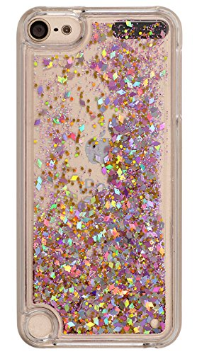 Price comparison product image iPod Touch 6 Case Liquid Quicksand Glitter Rose Gold Style , Touch5 Liquid Case , BLLQ Twinkle Quicksand Water Fall Funy Lovely Shiny Bling Sparkle PC Hard Case For Touch6 Touch 5 Diamond Rose Gold