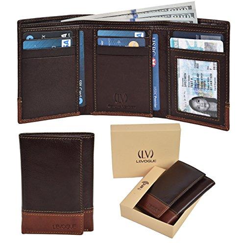- Genuine Leather RFID Blocking Handmade Bifold Wallet for Men - Slim Mens Wallet (Brown/Tan Nappa)