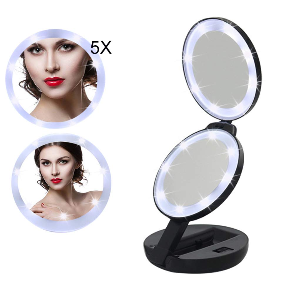 LIJUEZL Compact Travel Makeup Mirror with LED Light, 5X Magnifying Foldable Pockets Mirrors
