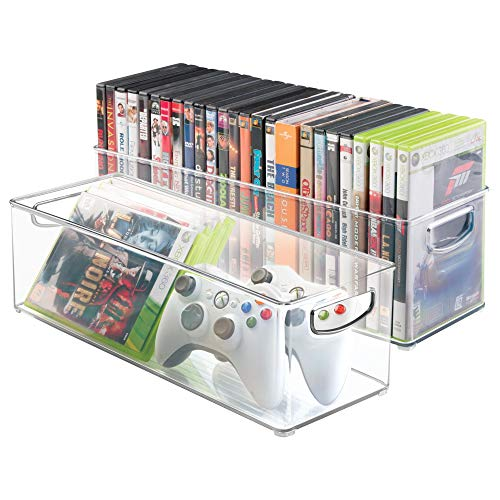 mDesign Plastic Stackable Household Storage Organizer Container Bin with Handles - for Media Consoles, Closets, Cabinets - Holds DVD's, Video Games, Gaming Accessories, Head Sets - 2 Pack, Clear from mDesign