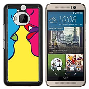 "Be-Star Único Patrón Plástico Duro Fundas Cover Cubre Hard Case Cover Para HTC One M9+ / M9 Plus (Not M9) ( Beso Arte Sensual Mujer Amarillo Pop"" )"