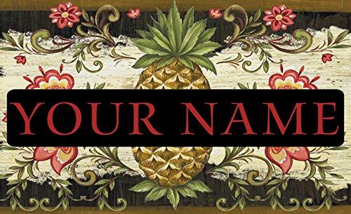 - Toland - Pineapple & Scrolls Personalized/Customizable Indoor Outdoor Welcome Door Mat USA-Produced