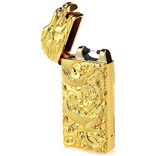 USB Rechargeable Lighter, Electric Tesla Plasma Dragon Lighter USB Windproof Flameless Arc Lighter (Gold)