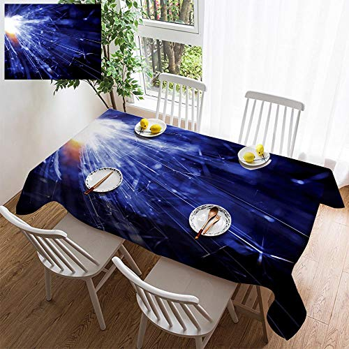 HOOMORE Simple Color Cotton Linen Tablecloth,Washable, Abstract Blue Light Background Decorating Restaurant - Kitchen School Coffee Shop Rectangular 72×54in