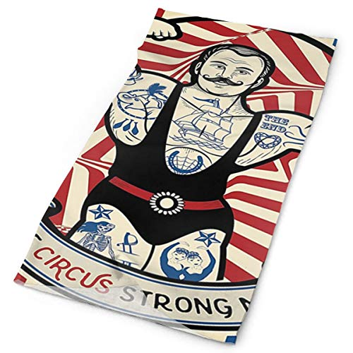 WOWRIGHT Outdoor Magic Headband Elastic Seamless Bandana Scarf UV Resistence Sport Headwear Con Nostalgic The Strong Man with Tattoos and Muscles Circus Star