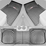 Motor Trend OF-933-BG Gray Deep Dish All-Climate Rubber Floor Mat (Performance Plus Heavy Duty Liners/Thick, Odorless & All Weather), 3 Piece