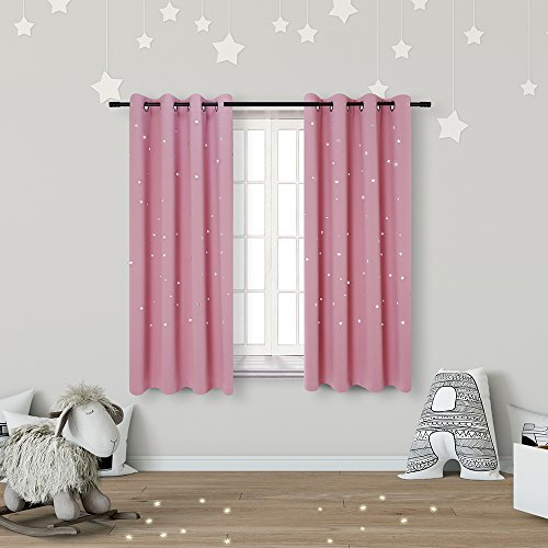 Anjee Kids Blackout Curtains for Girls Bedroom with Laser Cutting Out Stars (2 Panels), Thermal Insulated Light Blocking Window Curtains Drapes, 52 Inches Wide 63 Inches Long, Baby Pink
