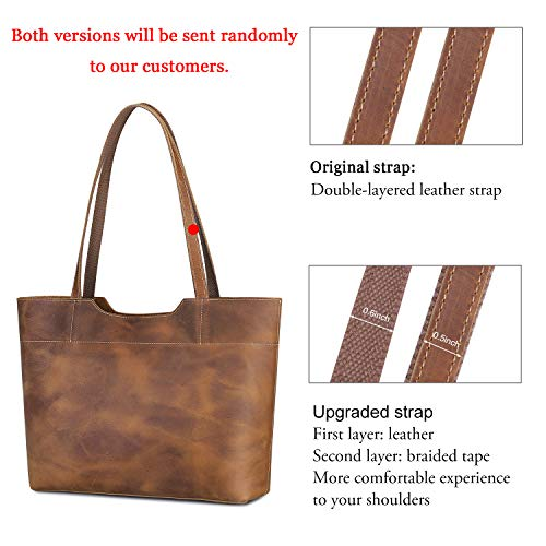S-ZONE Vintage Genuine Crazy Horse Leather Tote Shoulder Bag Purse with Back ...