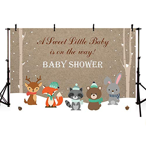 MEHOFOTO 7X5ft Winter Wonderland Baby Shower Photo Studio Backgrounds Invitation Baby Shower Forest Animals Snowflake Tree Photography Backdrops Banner