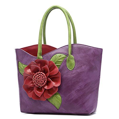 Bags handle Flower Style Top Vintage Messenger Handbag Handbags Purple Bags QZUnique Chinese WHwUXqFxUY