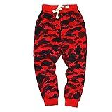 KISBINI Boy's Cotton Camouflage Sweatpants Sports Pants Sweats for Children Red 6T