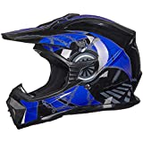 ILM Adult Youth Kids ATV Motocross Dirt Bike Motorcycle BMX MX Downhill Off-Road Helmet DOT Approved (BLUE BLACK, Youth-XL)