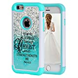 iPhone 6S Case,iPhone 6 Case Christian Quotes,SKYFREE Bible Verse Philippians 4:13 [Shockproof] Hybrid Dual Layer Silicone Plastic Armor Defender Protective Case Cover for Apple iPhone 6 /6S 4.7 inch