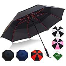 """Repel Golf Umbrella with Triple Layered Reinforced Fiberglass Ribs Adorned in Red Paint, 60"""" Vented Double Canopy with Teflon Coating, Auto Open"""