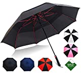 Golf Umbrella by Repel With Triple Layered Reinforced Fiberglass Ribs Adorned In Red Paint, 60'' Vented Double Canopy With Teflon Coating, Auto Open (Black)