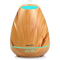 Easehold Aromatherapy Essential Oil Diffuser ,400ml Ultrasonic Humidifier 20H Intermittent Mist 4 Timer 7 Mood Light for Home Office ,Light Wood Grain