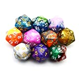 SmartDealsPro 10-Pack Two Color 20 Sided Dice D20 Polyhedral Dice DND RPG MTG Table Games