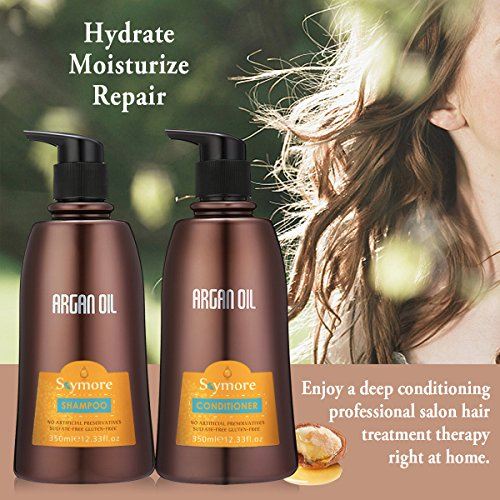 SKYMORE Moroccan Argan Oil Shampoo and Conditioner Set, Natural Hair Treatment for Dry Damaged or Color Treated Hair, Care All Hair Types