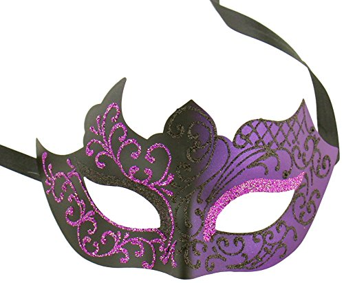 Luxury Mask Assorted Venetian Party Mask Multicolored, Purple/Black, One Size (Purple Masquerade Dresses)