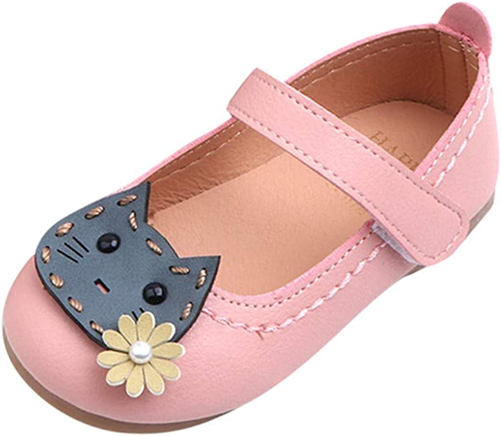 Hauzet Toddler Baby Girls Flower Cat Single Princess Shoes Infant Kids Casual PU Sandals