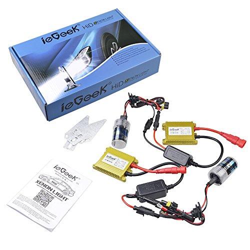 ieGeek AC 35W H7 HID-Xenon-Umbausatz Conversion Kit Ersatzlampe Scheinwerfer mit 2 Glühbirnen und 2 Schlanke Vorschaltgeräte (8000K)