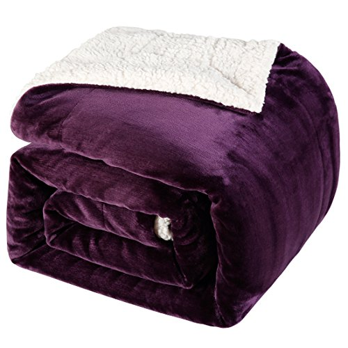 BLC Sherpa Blanket Reversible Fuzzy Fluffy Soft Warm Throw Plush Blanket 310GSM Flannel Top Bed and Couch Blanket(Purple, King) by BLC