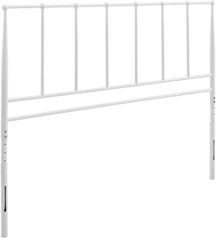 White Modway MOD-6106-WHI Kiana King Metal Stainless Steel Headboard