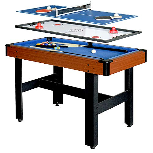 Hathaway BG1131M Triad 3-in-1 48-in Multi Game Table with Pool, Glide Hockey, and Table Tennis for Family Game Rooms ()