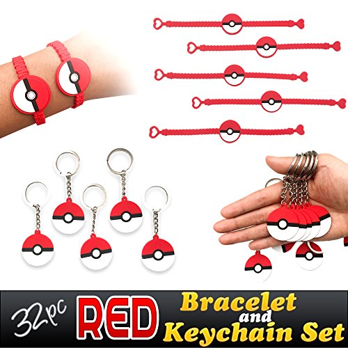 Price comparison product image Red Novelty Prize Bracelets and Party Keychains Favors for Childrens Birthday Supplies Goody Bags, 32pcs Set