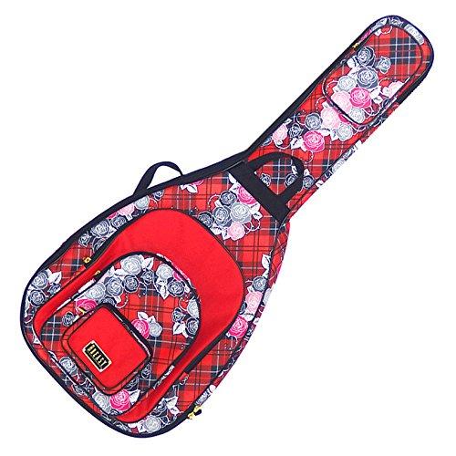 薔薇が無数にあしらわれたチェックのギターケースです。