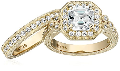 Platinum or Gold Plated Sterling Silver Asscher Cut Swarovski Zirconia Antique Ring Set (4.5 cttw)