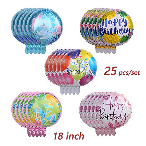 Happy Birthday Aluminum Foil Balloon 25 Pcs/set 18 Helium Balloons Floating, Letter Balloon Decoration Colorful Ball Set B