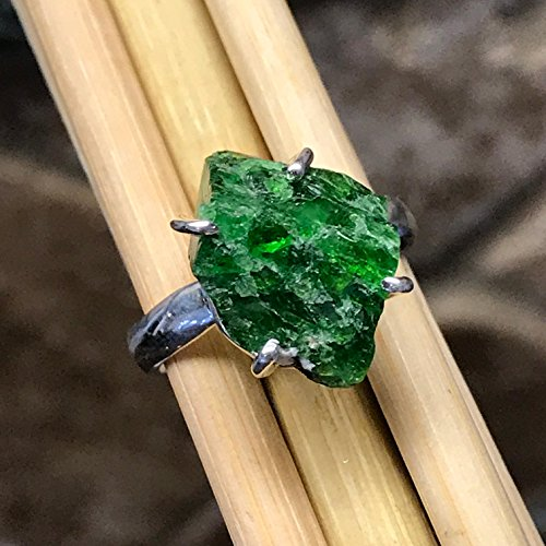 Natural Chrome Diopside, Raw Chrome Diopside, Russian Diopside, Green Diopside 925 Sterling Silver Cluster Ring sz 8.25