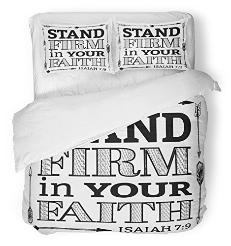 Emvency Bedsure Duvet Cover Set Closure Printed Stand Firm in Your Faith Christian Bible Scripture with Arrow Border From Isaiah Decorative Breathable Bedding With 2 Pillow Shams Full/Queen Size