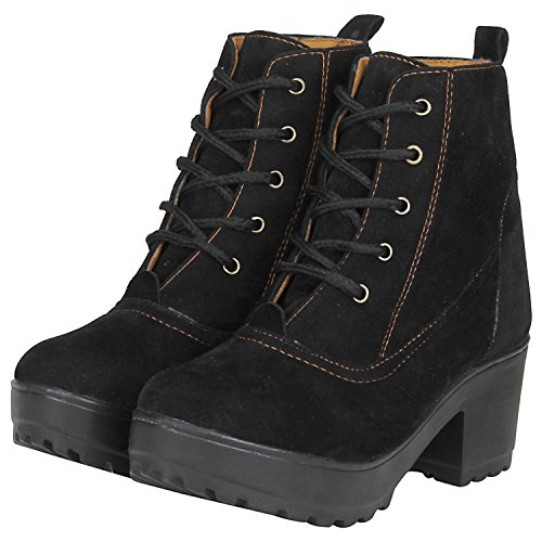 FASHIMO Women's Black Leather Look Ankle Length Boot